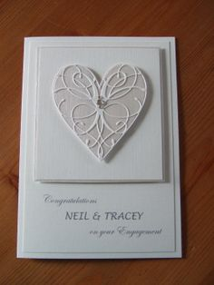 Engagement card using memory box heart die