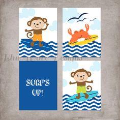 Surf's Up Wall Decor Nautical Beach Nursery by BlueWaveDesigns, $16.00