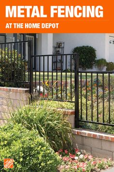 Metal Fencing - Fencing - The Home Depot Diy Fire Pit, Fire Pit Backyard, Outdoor Landscaping, Front Yard Landscaping, Outdoor Curtains, Front Yard Fence, Fencing Materials, Fence Design, Farmhouse Design