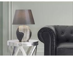 Nowoczesna lampka nocna - lampa stojaca - czarno-srebrna - ESLA