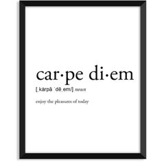 Carpe Diem definition, romantic, dictionary art print, office decor,... ($5.99) ❤ liked on Polyvore featuring home, home decor, wall art, typography wall art, word wall art, typography poster, quote wall art and quote posters