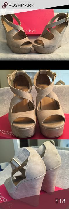 """Xhilaration Neutral Wedges Super cute! Goes with any outfit!!! Absolutely love but I never wear them. Soft leather, 1.5"""" platform height and 5"""" heel height. Great condition, only worn a few times!!! NO trades, offers for purchase only!!!! Xhilaration Shoes Wedges"""