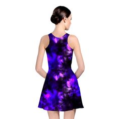 Black+And+Purple+Pattern+Reversible+Skater+Dress by Tracey Lee art Designs