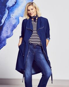 Our jersey denim range is a must-have this season. This relaxed and casual-style waterfall jacket is the perfect easy-wearing jacket. Wear with jeans or jeggings and one of our plain tees and trainers for a laid-back yet chic look. Machine washable.