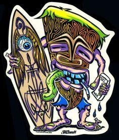 Von Franco Sticker Decal Tiki Surf Surfer Kustom Kulture Pinstripe