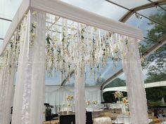 Square Gazebo with fabric and hanging floral