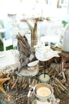 80 Beach Centerpieces That Will Drive You Crazy – wedding centerpieces Driftwood Centerpiece, Beach Wedding Centerpieces, Beach Wedding Reception, Nautical Wedding, Wedding Table, Wedding Events, Our Wedding, Beach Weddings, Wedding Ideas