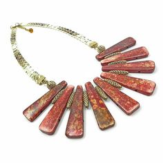 Tribal spike necklace// scarlet red// ethnic bone necklace// fringe bib necklace// african jewelry