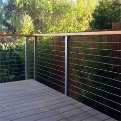 Patio Stainless Steel Wire Balustrade based on height and easy installation, provide detailed instruction Patio Balustrade Ideas, Wire Deck Railing, Wire Balustrade, Balustrade Balcon, Outdoor Handrail, Balcony Railing Design, Balustrades, Steel Railing, Decking Handrail