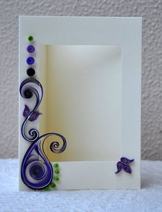 Quilled Card Paper Quilling Quilled Photo Frame by PaperSimplicity Arte Quilling, Paper Quilling Patterns, Quilling Paper Craft, Quilling Ideas, Quilling Tutorial, Quilling Photo Frames, Quilled Creations, Quilling Techniques, Kirigami