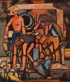 Yochanan Simon - Figures in the Kibbutz, Oil on masonite, 40X35 cm.