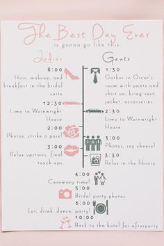 Bridal party schedule.