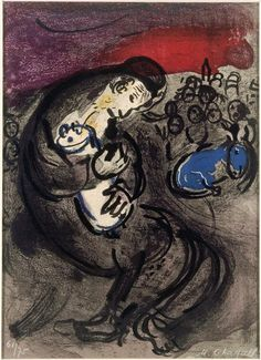 """Marc Chagall: """"Weeping of Jeremiah"""", 1956. (Musée national Message Biblique Marc Chagall, Nice, France.) http://en.musees-nationaux-alpesmaritimes.fr/"""