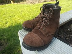 traditional boots cut from dark brown rough-out reverse tanned leather. Vintage Boots, Vintage Leather, Aachen Germany, Bobber Chopper, Cycling Shoes, Motorcycle Outfit, Gentleman Style, Leather Craft, Dark Brown