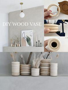 Diy Home Crafts, Diy Arts And Crafts, Diy Home Decor, Diy Crafts Vases, Rock Crafts, Room Decor, Wood Vase, Creation Deco, Crafty Craft
