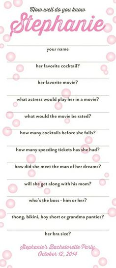 Questionnaire, these would be cute for the maid of honor to put in a bachelorette scrap book
