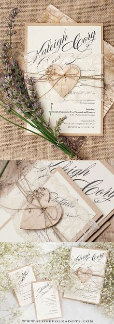Romantic Rustic Wedding Invitation Lace & Birch Bark Heart || @4lovepolkadots