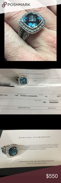 David Yurman 11 mm Albion Hampton Blue Topaz Ring This is a stunning (and almost new! )David Yurman Albion ring in Hampton Blue Topaz with pave diamonds. This is not from my personal collection, however when I purchased it I was able to acquire, from the initial owner, the original receipt from David Yurman, along with the certificate of authenticity and DY Dust bag. David Yurman Jewelry Rings