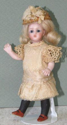 """4 1/2"""" Simon & Halbig '890/0' All Bisque Doll ~ All Original Mignonette!"""