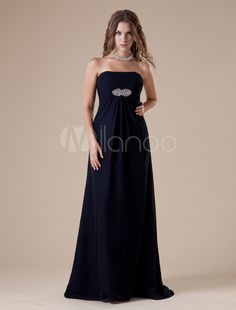 A-line Dark Navy Floor-Length Evening Dress with Strapless Sequin - Get splendid discounts up to 70% Off at Milanoo using Coupon & Promo Codes