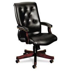 HON 6540 Series Executive High-Back Chair   Knee-Tilt   Fixed Arms   Wood Trim   Mahogany Finish   Black Vinyl