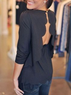 Black Plain Ruffle Backless Wavy Edge Scallop Trims Fashion Chiffon Sexy Blouse