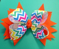 Chevron Hair Bow Colorful Hair Bow Birthday by BrinleysBowtique32