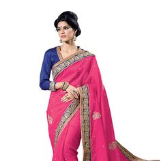 #Pink #SilkSaree with Blouse