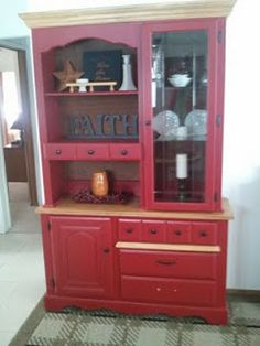 Hutch redo, maroon, deep red, cabin style, country, paint, stain.
