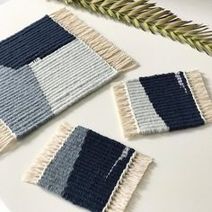 Found some time to make a special gift for kitchen in SF. Trivet and coaster set. Congrats on opening your dream kitchen! Weaving Loom Diy, Weaving Art, Tapestry Weaving, Hand Weaving, Bedroom Crafts, Weaving Wall Hanging, Weaving Textiles, Weaving Projects, Tear