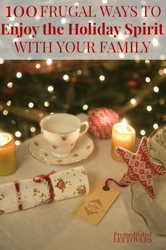 Step away from the commercialism of Christmas and instead choose a few things to do from this list of 100 Frugal Ways to Enjoy the Holiday Spirit With Your Family. Get back to the true meaning of the holidays with these frugal and family-friendly activities. Enjoy the holiday season on a budget with these diy gift ideas and frugal life hacks - the best gifts are often time with family, whether at home or doing an activity.