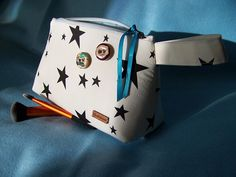 White Cosmetic Bag With Black Stars and London Wooden Vintage Buttons Light Blue Zip