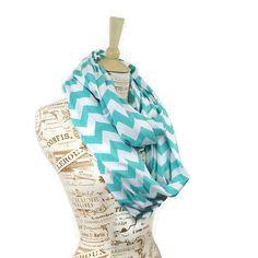 Aqua Chevron Infinity Scarf Jersey Tiffany Blue Loop Sale on Etsy, $23.00