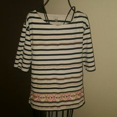 Just in* J. CREW embroidered strioed top Beautiful embroidered J. CREW top in perfect  condition! No stains or holes. Embroidery has the moat unique pops of color and would be perfectly paied with denim or bright bottoms! Make this adorable top yours! All offers welcome! J. Crew Tops