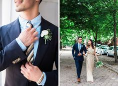 For a modern wedding, the groom wore a midnight blue wedding suit with a small white floral boutonniere paired with gold accented accessories including a blue and gold striped tie. To complement the groom's wedding attire, the bride wore a nontraditional gold wedding dress with sequins.  | Casey & Chache's Brooklyn, NY Wedding by Maria Doka Photography #myweddingmag