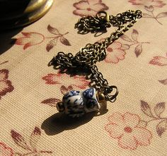 Charm Necklace Blue and White porcelain by donnaelizabethdesign, $9.99