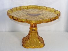 "EAPG Amber Glass ""Daisy & Button Thumbprint Panel"" Cake Stand made by Adams & Co. circa x 7 Amber Glass, Early American, Cake Plates, Daisy, Button, Antiques, Pattern, Antiquities, Antique"