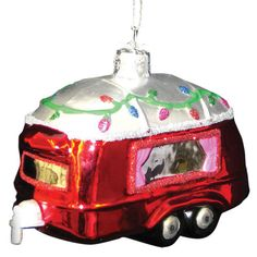 new retro rv travel trailer camper glass hand painted holiday christmas ornament - Camper Christmas Decorations