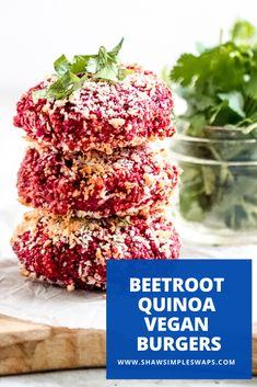 This is the perfect Beetroot Quinoa Burger to enjoy with that can of beets you have! Filled with bold flavors, it's so easy to make in less than 30 minutes! Beetroot Burgers, Quinoa Burgers, Mini Burgers, Beef Burgers, Vegan Burgers, Vegan Veggie Burger, Vegetarian Barbecue, Vegetarian Cooking, Vegetarian Recipes