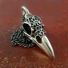 Raven Skull Necklace Antique Silver Bird Skull Pendant with Tribal Motif on Gunmetal Chain via Etsy. Raven Skull, Bird Skull, Raven Bird, Bird Jewelry, Jewelry Accessories, Unique Jewelry, Skull Jewelry, Silver Jewelry, Skull Necklace