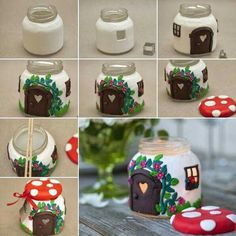 DIY Clay Jar Mushroom House Tea Light Holder : Been searching for a DIY clay project to make that looks unbelievable? This DIY Clay Mushroom is an amazing project to make & impress your friends Kids Crafts, Jar Crafts, Bottle Crafts, Christmas Candle Decorations, Christmas Candles, Vase Decorations, Home Decoration, Home Candles, Diy Candles