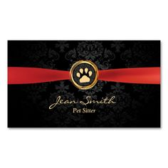Red Ribbon Dark Damask Pet Sitting Business Card. Make your own business card with this great design. All you need is to add your info to this template. Click the image to try it out!