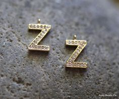 Letter Z- Unique Initial Alphabet Letters, 24K Gold Plated with Zirconia - INTG-Z