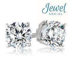 0.50 Carat Total Weight Genuine Diamond Stud Earrings in 14-Karat White Gold