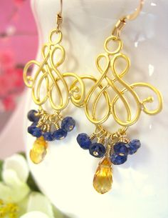 Citrine Blue Iolite Gold Chandelier Earrings blue and by KBlossoms, $60.00