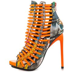 Luichiny Women's Crunch Time - Snake Orange IMI ($100) ❤ liked on Polyvore featuring shoes, high heels stilettos, heels stilettos, python shoes, luichiny shoes and orange high heel shoes