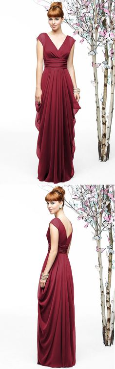 Empire A-line Cap Sleeves Floor-length Zipper Bridesmaid Dresses