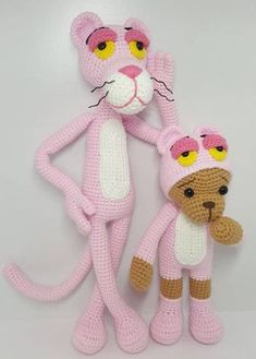This is a crochet pattern PDF and not the finished doll Following this pattern Pinkpanther will be approximately 30 cm and the Bear will be 20cm The pattern is available in English Materials Yarn : Hera cotton/6ply (cotton 55%,Acrylic 45%) Colors: White, Black, Pink, dark pink,,Beige Hook: