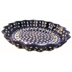 """10.25"""" Fluted Pie Plate - Pattern 41A by Euroquest Imports Polish Pottery. $59.84. 1331-41A Features: -Fluted Pie Plate.-Stoneware material.-Available in 41A design.-Made in Poland. Dimensions: -Overall dimensions: 1 1/4'' H x 10 1/4'' D. Collection: -Traditional collection."""
