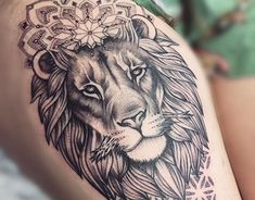 Lion mandala thigh piece